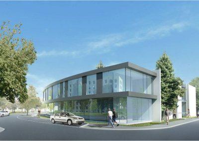 Wykonanie stanu surowego budynku Centrum Psychiatrii UMB, budowa zlokalizowana na zapleczu Uniwersyteckiego Szpitala Klinicznego w Białymstoku.